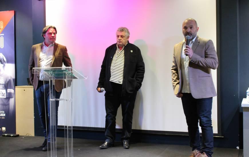Pascal Dupraz er Fabrice Clément ont pu s'adresser aux partenaires du Stade Malherbe Caen pour débuter cette nouvelle année